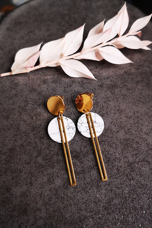 Gold plated drop earrings with marbled ornaments