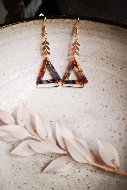 Gold plated earrings with leaves & triangles ornaments