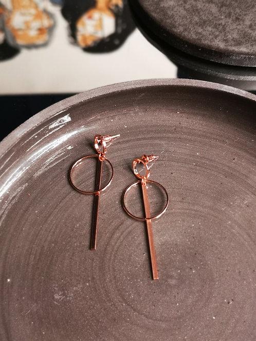 Earrings Circle & Bar rosé gold plated