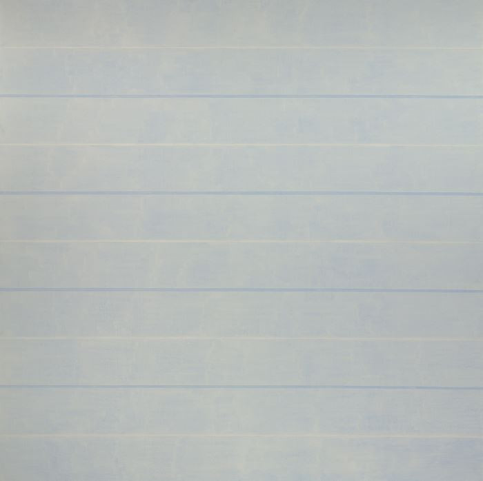 Agnes Martin Untitled (Playing), 1993-1994 Acrylic on linen Overall: 60 1/16 x 60 1/16 in. (152.5 x 152.5 cm) Gift of the Artist  There is a three-dimensional quality to the work because of the way the horizontals and their colors are laid out. The dominance of the light blue acrylic paint makes the surface as if you are looking into a cloud, and there is a subtle movement existent bellow the layers of thin paint. This light blue is broken up by thin bands of white, and within bands of darker blue outlined with graphite. The band of white bellow the light blue and a band of darker blue above make it look as though every other horizontal of light blue exists on a separate, closer plane from the others.   - Maranda Nieman
