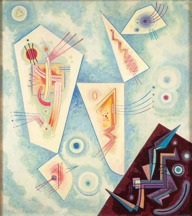 The influx of dozens of artists by the 1950s had established Taos as one of the centers of modernist artistic activity in the United States. In the middle part of the decade, a number of them began showing together in art galleries and museums and were collectively known as the Taos Moderns.    Emil Bisttram Untitled Abstraction, 1952 Oil on canvas Overall: 22 1/16 x 19 9/16 in. (56 x 49.7 cm) Framed: 21 x 18 5/16 in. (53.3 x 46.6 cm) Gift of Isabeth Hardy in memory of Mayrion & EJ Bisttram Harwood Collection