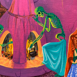"""Anita Rodriguez Mis Antepasados (detail) 1998 Acrylic on wood 23 ½"""" x 47"""" Courtesy of the artist"""