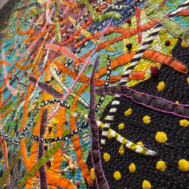 Terrie Mangat Stork's Nest (detail) 2018 Contemporary Quilt 99 x 56 in.