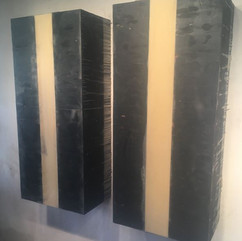 """Gray Mercer Two Prime,2019 Wood, steel, wax 53"""" x57""""x 15"""" Courtesy of the artist"""