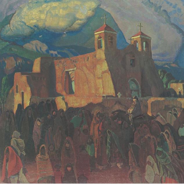 Ernest L. Blumenschein Fiesta Ranchos Church, c.1930 print poster sheet: 19 × 23 in. (48.3 × 58.4 cm) Gift of W. W. McAdoo Harwood Collection