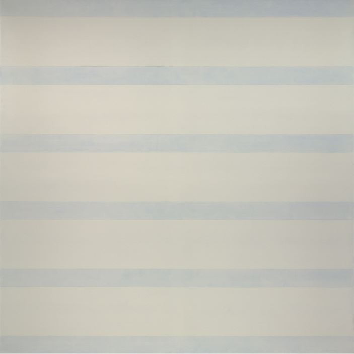 Agnes Martin Untitled (Ordinary Happiness), 1993-1994 Acrylic on linen Overall: 60 1/16 x 60 1/16 in. (152.5 x 152.5 cm) Gift of the Artist  Five horizontals of white along with six smaller bands of light blue create a pattern on the surface of the canvas. The colors are defined into their bands by straight graphite lines that help to emphasize the calculated geometric quality of the work. The dominance of white along with a light blue is like looking at snow reflecting the blue of the sky on a cool winter day.   - Maranda Nieman