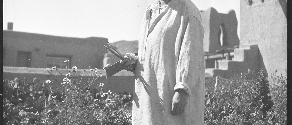 In 1937, UNM and the Works Projects Administration (WPA), working in cooperation to create an enhanced facility, embarked on a major expansion and renovation project of the Harwood complex. Here is Lucy in the Harwood garden.