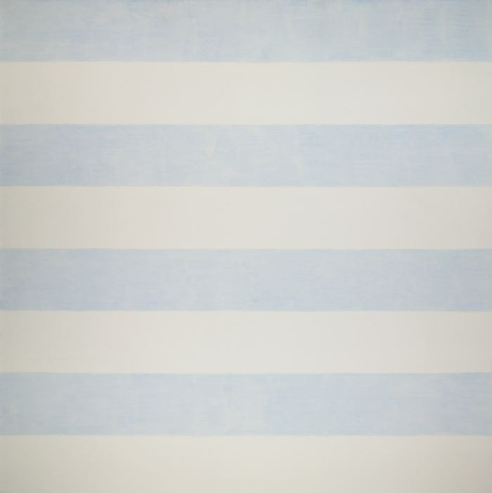 Agnes Martin Untitled (Lovely Life), 1993-1994 Acrylic on linen Overall: 60 1/16 x 60 1/16 in. (152.5 x 152.5 cm) Gift of the Artist  Layers of thin blue acrylic paint have created horizontal bands with a cool sense of weightlessness, like you are staring up into a clear blue sky. There is a warmth in the white bands, working with the blue to create an overall sense of peace and an ethereal presence. The white and blue bands are evenly spaced and evenly divided between the two colors, portraying geometric perfection that is not found in nature, revealing the existence of the artist.   - Maranda Nieman