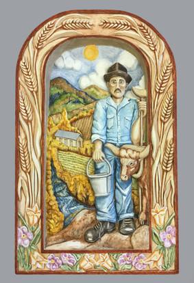 Jean Anaya Moya San Isidro en toda su Gloria, 2017 Basswood, homemade gesso, natural mineral pigments, cochineal bug, piñon sap, varnish wax entire piece: 15 × 15 1/2 × 2 in. (38.1 × 39.4 × 5.1 cm) Courtesy of Steve & Jean Anaya Moya