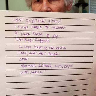 Kathleen Brennan Last Supper Stew, 2020 HD Video Still   Cynthia's Poem 9 min. Courtesy of the artist. In memory of Cynthia K. Homire
