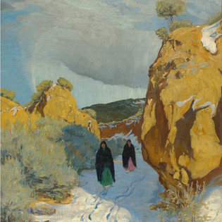 Walter Ufer Winter in New Mexico, c.1930 Oil painting Overall: 22 1/4 x 20 1/16 in. (56.5 x 51 cm) frame: 28 x 25 3/4 in. (71.1 x 65.4 cm) Gift of the University of Notre Dame, Walter and William Klauer Harwood Collection
