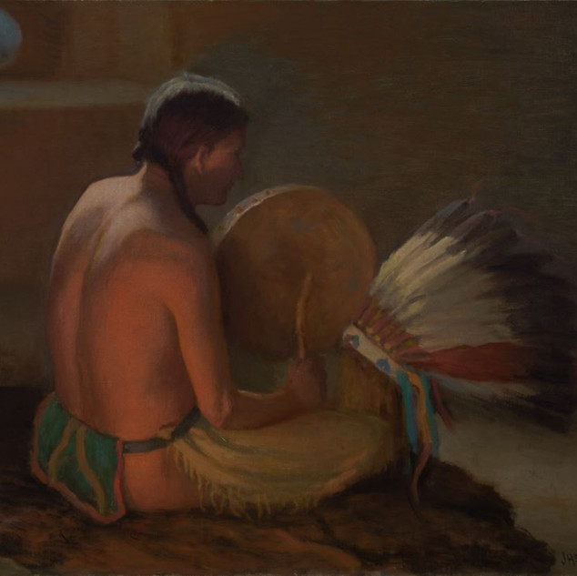 Joseph Henry Sharp Chant To The Warbonnet, c. 1920 Oil on canvas Overall: 25 x 30 1/8 in. (63.5 x 76.5 cm) frame: 29 5/8 x 34 5/8 in. (75.2 x 87.9 cm) Gift of Letha Batrum Estate Harwood Collection