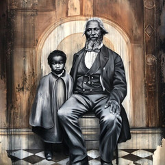"""NikeshaBreeze [Anonymous African American Man and Child; 1856],2020 Oil on canvas with cold-cast bronze frame 79"""" x 67"""" Courtesy of the artist"""