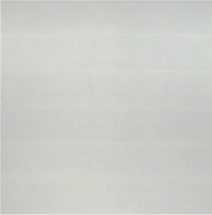 Agnes Martin Untitled (Innocence), 1993-1994 Acrylic on linen Overall: 60 1/16 x 60 1/16 in. (152.5 x 152.5 cm) Gift of the Artist  Like looking into a cloud, the six horizontals of thin blue acrylic paint create a sense of endless depth. The varying thickness of color in the washes makes the blue bands fluid, like there are many different layers creating a sense of movement. Up close you can see that there are five thin bands of white that subtly break up the blue. You can sense the calmness that seems to radiate from the piece, calling for you to get lost in the experience.  - Maranda Nieman