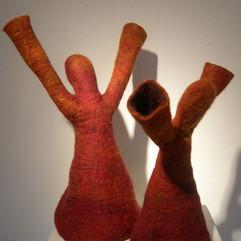 "NinaSilfverberg Reach,2020 Felted Finnish lamb's wool 7-9 sculptures, varied dimensions: 10"" x 12"" x 5"", 7"" x 8""x 5"" Courtesy of the artist"