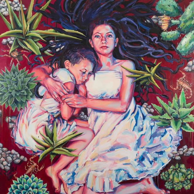 Sarah Stolar Sisters 2017 Oil on canvas 72 x 64 x 3