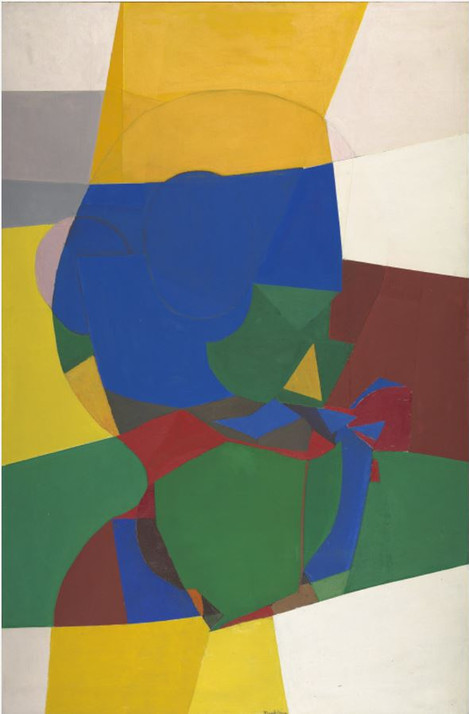 The timelessness they perceived in Pueblo Indian culture and the deep connection to the land they noted in the everyday life of both Indians and Hispanics influence experimentation and innovation in their own art.  Beatrice Mandelman Convolutions, c. 1970 Oil on canvas Overall: 76 x 49 5/8 in. (193 x 126 cm) Gift of the Mandelman-Ribak Foundation Harwood Collection