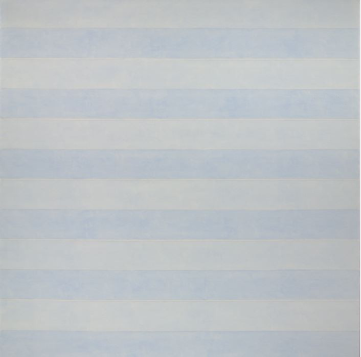 Agnes Martin Untitled (Friendship), 1993-1994 Acrylic on linen Overall: 60 1/16 x 60 1/16 in. (152.5 x 152.5 cm) Gift of the Artist  The surface is broken up into twelve bands of blue horizontals, six light blue and six darker blue. The blues have a sense of space from the layering of thinned paint, as though there is a subtle movement beneath the surface. Five thin bands of white break up the pairs of blue bands while graphite lines define the edges of each band. The amount of horizontals on the surface give a sense of energy to the piece, while the pattern allows for you to continue the essence of the piece beyond the edges of the canvas.  - Maranda Nieman