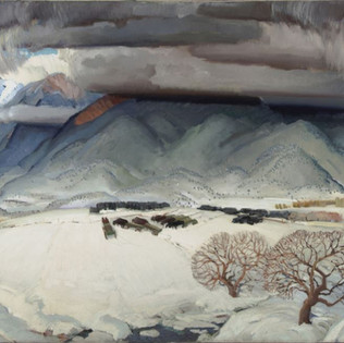 Victor Higgins Winter Funeral, c. 1931 Oil on canvas Framed: 51 1/4 × 64 1/2 × 2 1/2 in. (130.2 × 163.8 × 6.4 cm) Gift of the Artist Harwood Collection