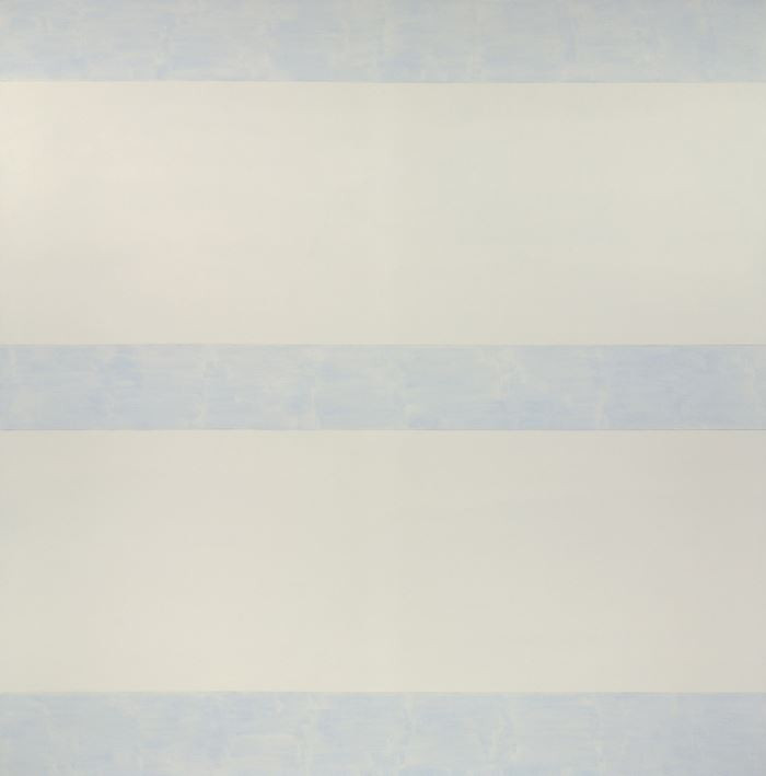 Agnes Martin Untitled (Perfect Day), 1993-1994 Acrylic on linen Overall: 60 1/16 x 60 1/16 in. (152.5 x 152.5 cm) Gift of the Artist  Two large horizontal bands of white dominate the surface, reflecting the light of the room giving them a sense of warmth. Three small bands of light blue horizontals break up the space of warm white with their cloud-like hue and sense of depth. The reflecting white bands are like looking up at the sun on an overcast day, giving off a sense of depth as well as a feeling of warmth.   - Maranda Nieman