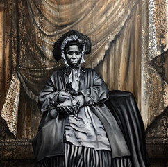 """NikeshaBreeze [Anonymous African AmericanWomanandBasket; 1856],2020 Oil on canvas with cold-cast bronze frame 79"""" x 67"""" Courtesy of the artist"""