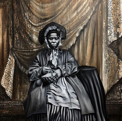 "Nikesha Breeze  [Anonymous African American Woman and Basket; 1856], 2020  Oil on canvas with cold-cast bronze frame  79"" x 67""  Courtesy of the artist"