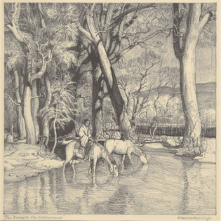 E. Martin Hennings Beneath the Cottonwoods, c. 1924 Lithograph Overall: 14 1/2 x 14 5/8 in. (36.9 x 37.1 cm) mat: 24 x 20 in. (61 x 50.8 cm) Gift of J.B. McEntire, Jr. Harwood Collection