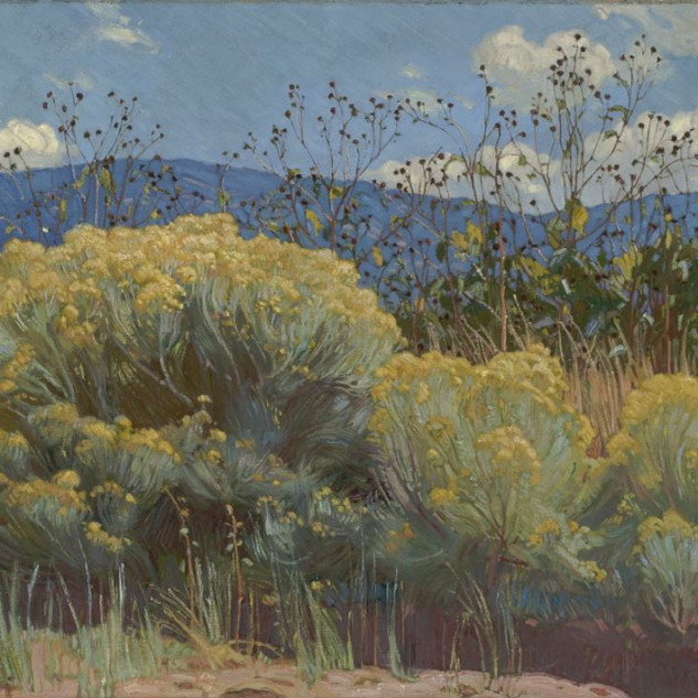 E. Martin Hennings Chamisa in Bloom, c. 1920 Oil painting Overall: 30 x 36 1/4 in. (76.2 x 92 cm) Gift of the Estate of Mary Mingenback Harwood Collection