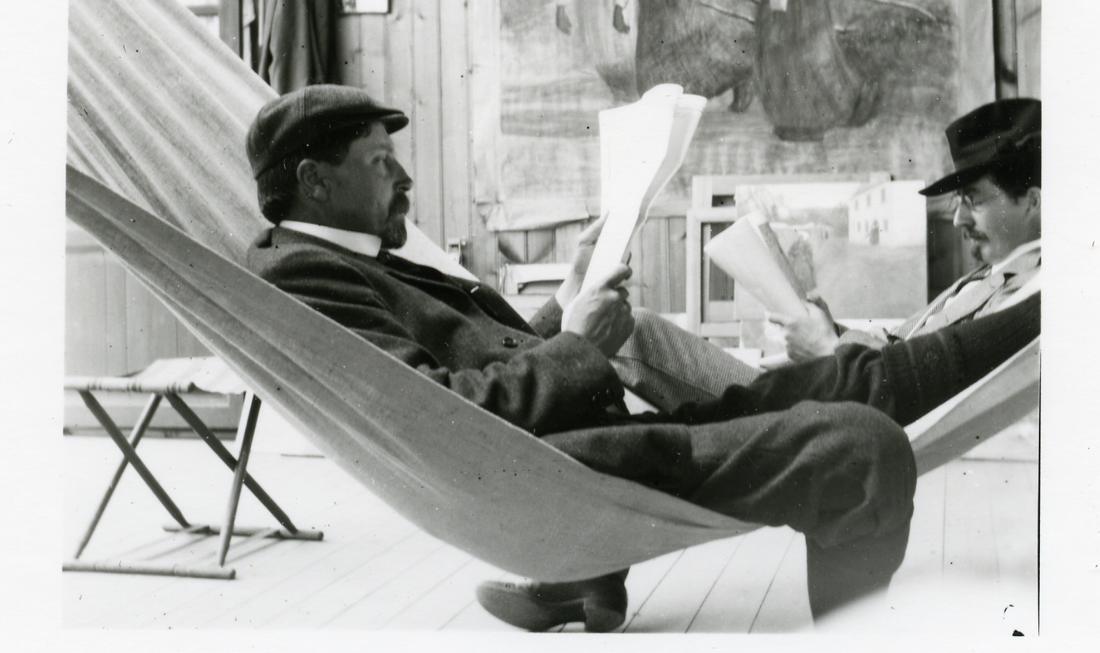 Designed by John Gaw Meem, one of the best known architects of the Southwest, the Harwood addition became one of the tallest adobe structures in northern New Mexico, and included an auditorium, stage, exhibition space, and a library facility. Here Burt relaxes.