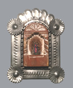 Tomasita Rodriquez Our Lady of Guadalupe in Tin Frame, 1992 Cottonwood or basswood, gesso, oil paint, tin. entire piece: 5 × 6 × 1 in. (12.7 × 15.2 × 2.5 cm) Courtesy of the Artist