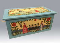 Monica Sosaya Halford Hope Chest, 2012 wood, gesso, watercolor entire piece: 14 × 30 × 17 in. (35.6 × 76.2 × 43.2 cm) Coutesy of Maria Goler Baca