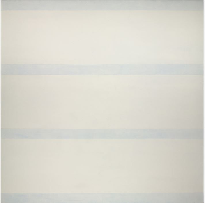 Agnes Martin Untitled (Love), 1993-1994 Acrylic on linen Overall: 60 1/16 x 60 1/16 in. (152.5 x 152.5 cm) Gift of the Artist  Three large, equal, horizontal bands of white dominate the surface of Love while four thin bands of thin blue acrylic paint break up the white, like blinds revealing the blue sky outside. The thin blue bands act as little glimpses into a never ending space while the white bands appear to exist in front of the space the blue paint occupies, like a soft barrier bringing solidity to the piece.   - Maranda Nieman
