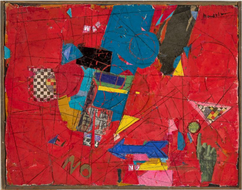 Beatrice Mandelman No War #1(1B), c. 1960 Mixed media collage with acrylic on board Overall: 14 x 18 in. (35.6 x 45.7 cm) Gift of the Mandelman-Ribak Foundation Harwood Collection