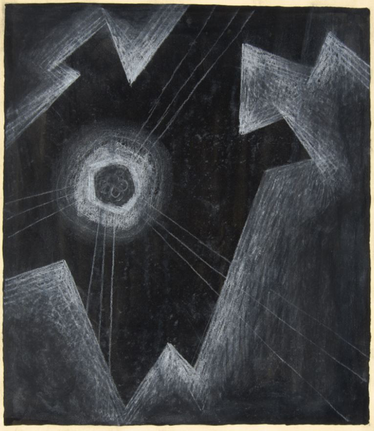 Emil Bisttram Untitled, c. 1955 Pen and white conte crayon on paper 18 × 14 in. (45.7 × 35.6 cm) Museum purchase made possible by Gus Foster Harwood Collection