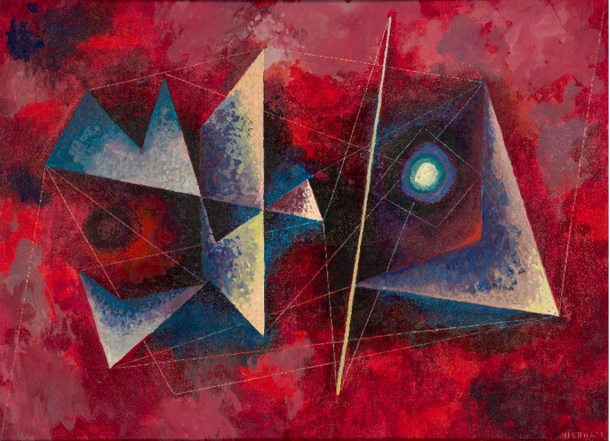 In the same way that the Taos Art Colony in earlier decades attracted other artists to the area, these new artists were visited by their friends and associates, including such major figures as Mark Rothko, Ad Reinhardt, Clyfford Still and Morris Graves.   Emil Bisttram Out of Space, 1954 casein Overall: 27 1/16 x 36 in. (68.8 x 91.5 cm) frame: 32 1/4 x 41 1/4 in. (81.9 x 104.8 cm) Gift of The Helene Wurlitzer Foundation Harwood Collection