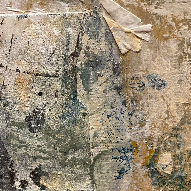 """Jan Sessler  Traces (detail) 2020  Acrylic, sandpaper, paper wrappings, printed charts, newspaper, charcoal, and colored pencil on canvas  40"""" x 40"""" x 2""""  Courtesy of the artist"""