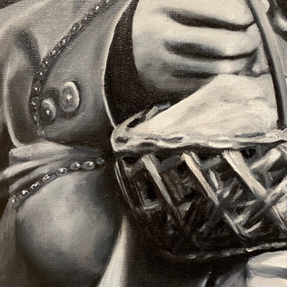 """Nikesha Breeze  [Anonymous African American Woman and Basket; 1856] (detail) 2020  Oil on canvas with cold-cast bronze frame  79"""" x 67""""  Courtesy of the artist"""
