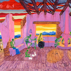 """Anita Rodriguez Mis Antepasados, 1998 Acrylic on wood 23 ½"""" x 47"""" Courtesy of the artist"""