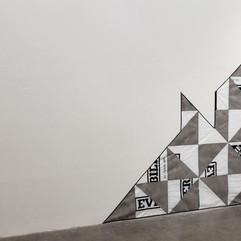 "J. Matthew Thomas Quilt Construction,2020 High-densityspunboundpolyethylene fiberhousewrap, geotextile polypropylene/polyesterweedblockcloth, Formaldehyde-free R-6.7 unfaced fiberglass wool batts, polyester ribbon, polyester thread 101"" x 101"" Courtesy of the artist"