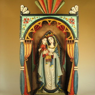 Gustavo Victor Goler Madonna and Child in Nicho, 2000 Painted wood carving 31 × 15 1/2 × 5 in. (78.7 × 39.4 × 12.7 cm) Partial gift of Alfred J. Walker with purchase funds from Alyce Frank, the Harwood Museum Alliance, Raymond Bal & Elizabeth Kay, Brad & Fran Taylor, Gary and Barbara DeVane, and Palacio de Marquesa.