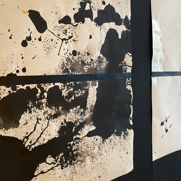 """Solange Roberdeau World Through the Body/Body Through the World (1-6) 2020 sumi ink, acrylic, and 210 karat moon gold leaf on shiramine paper 30"""" x 46"""" Courtesy of the artist"""