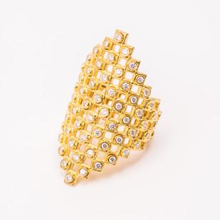 Maria Samora 18K Gold Cosmos Ring with Diamonds 2018 18K Gold, Top White Diamonds 2 x .75 x .75