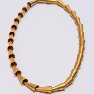 Maria Samora 18K Gold Cone-Link Necklace 2018 18K Gold; Hand-made Cones; Top WQhite Diamond 18 x .5 x .25 in.