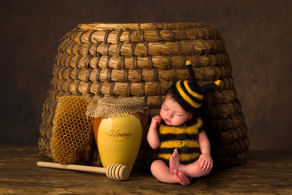 Honeybee outfit for a newborn photography session in Dubai
