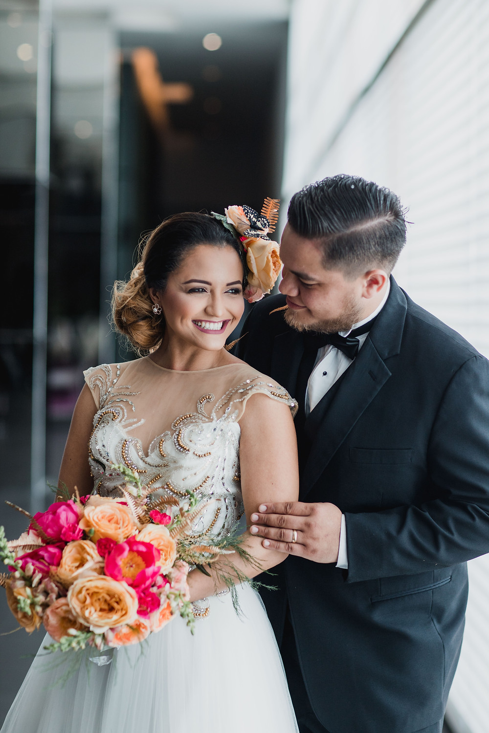 beautiful couple photographed during their wedding in Dubai