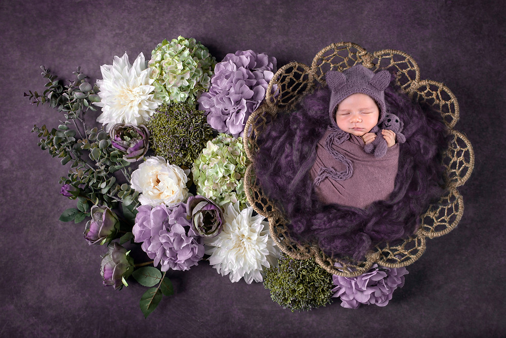 Baby photography in Dubai, a flower set up for a newborn photoshoot