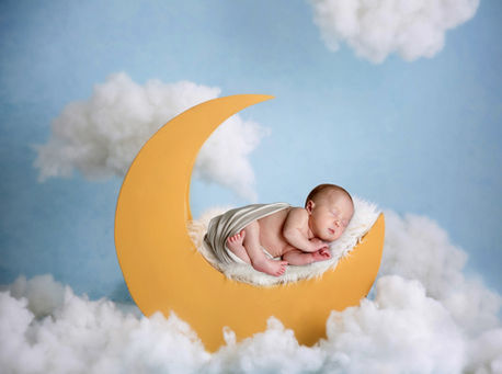 Moon and clouds baby photoshoot