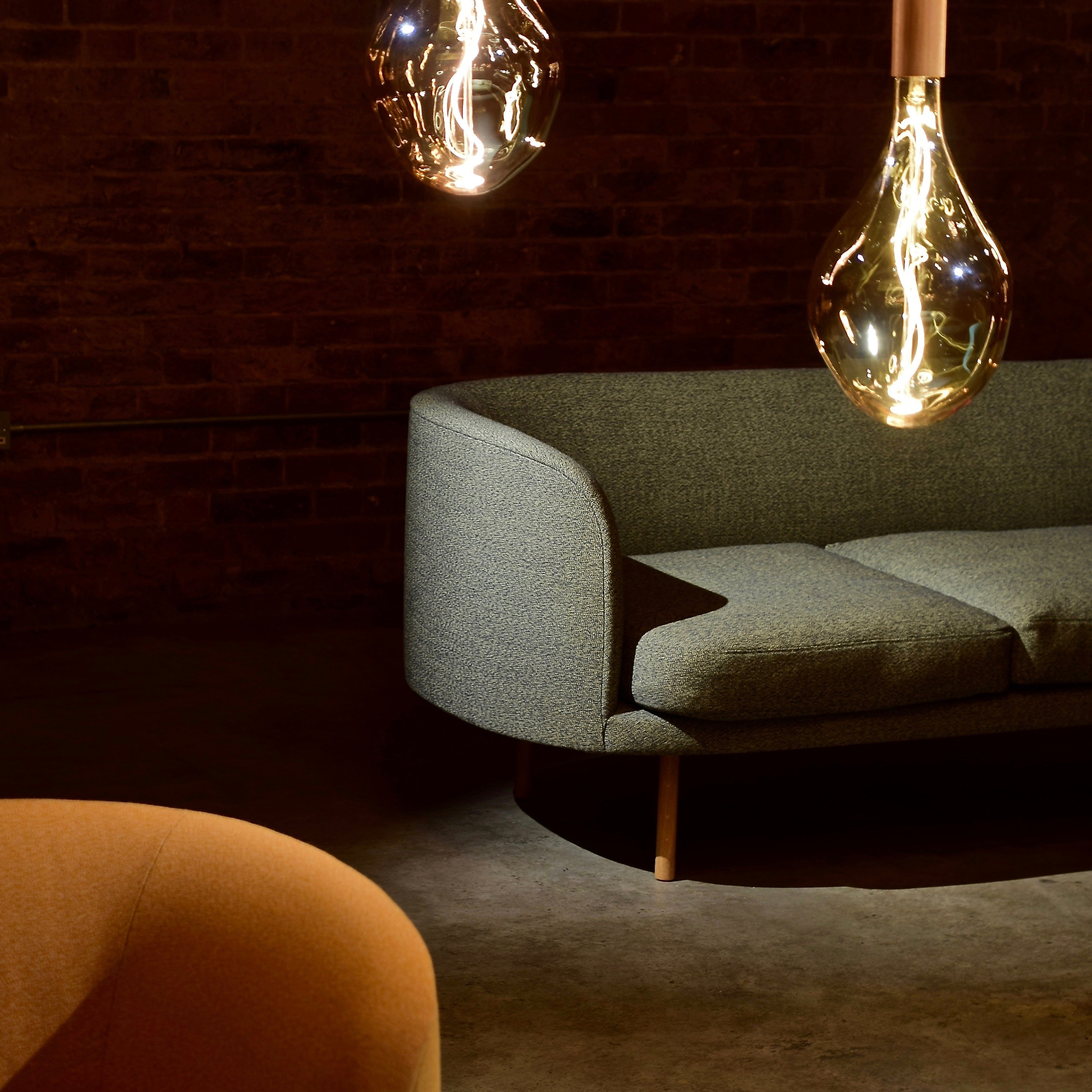 Beautiful interiors photography with a sofa and lighting