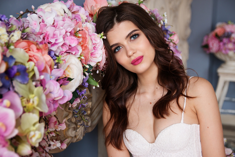 beautiful wedding bride, all dressed up and photographed.