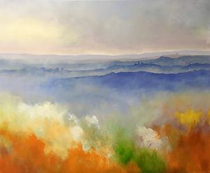 landscape#art#painting#sunrise#dawn#italy#monferrato#orange#mist